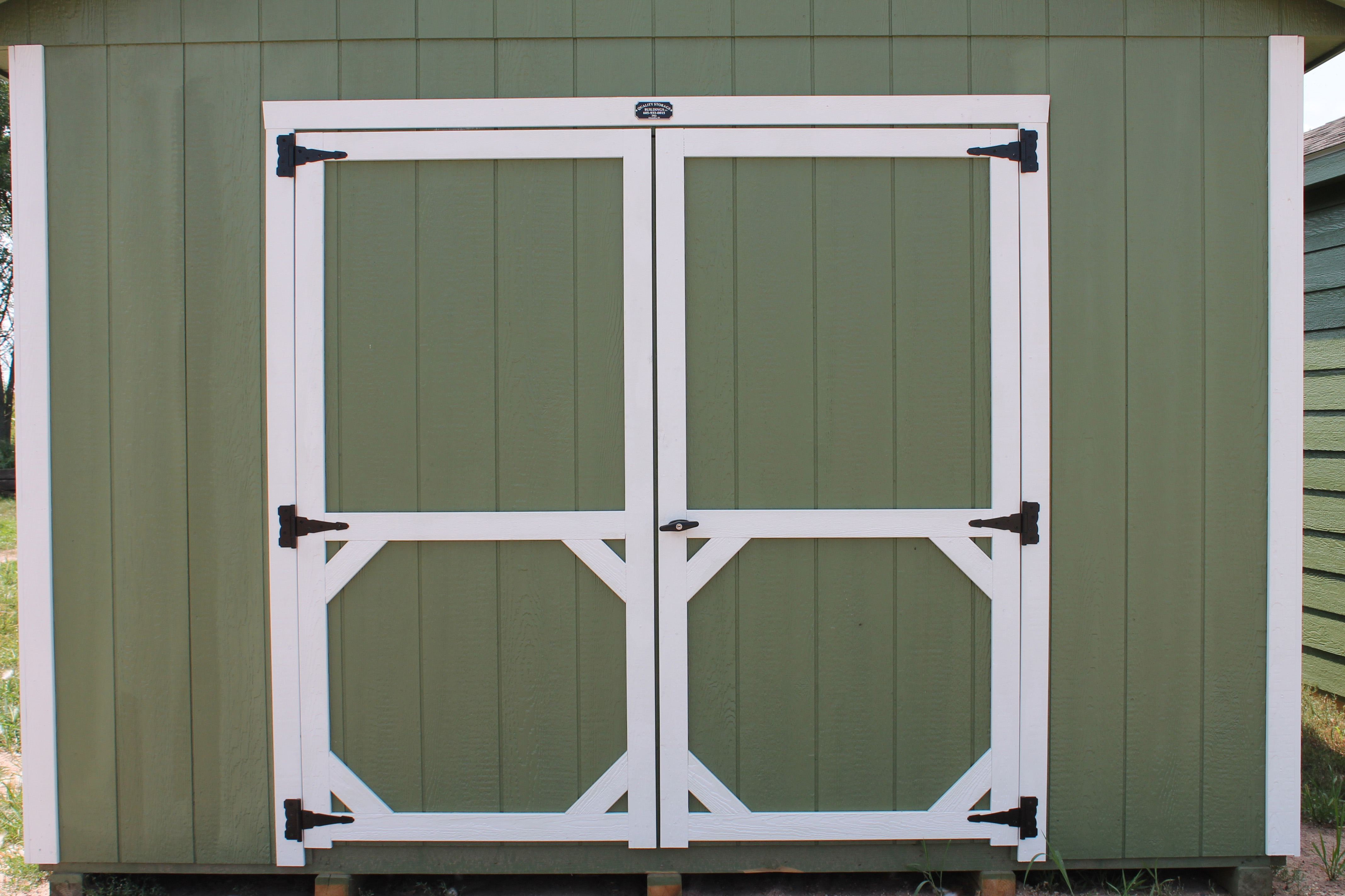 standard wooden double doors white trim