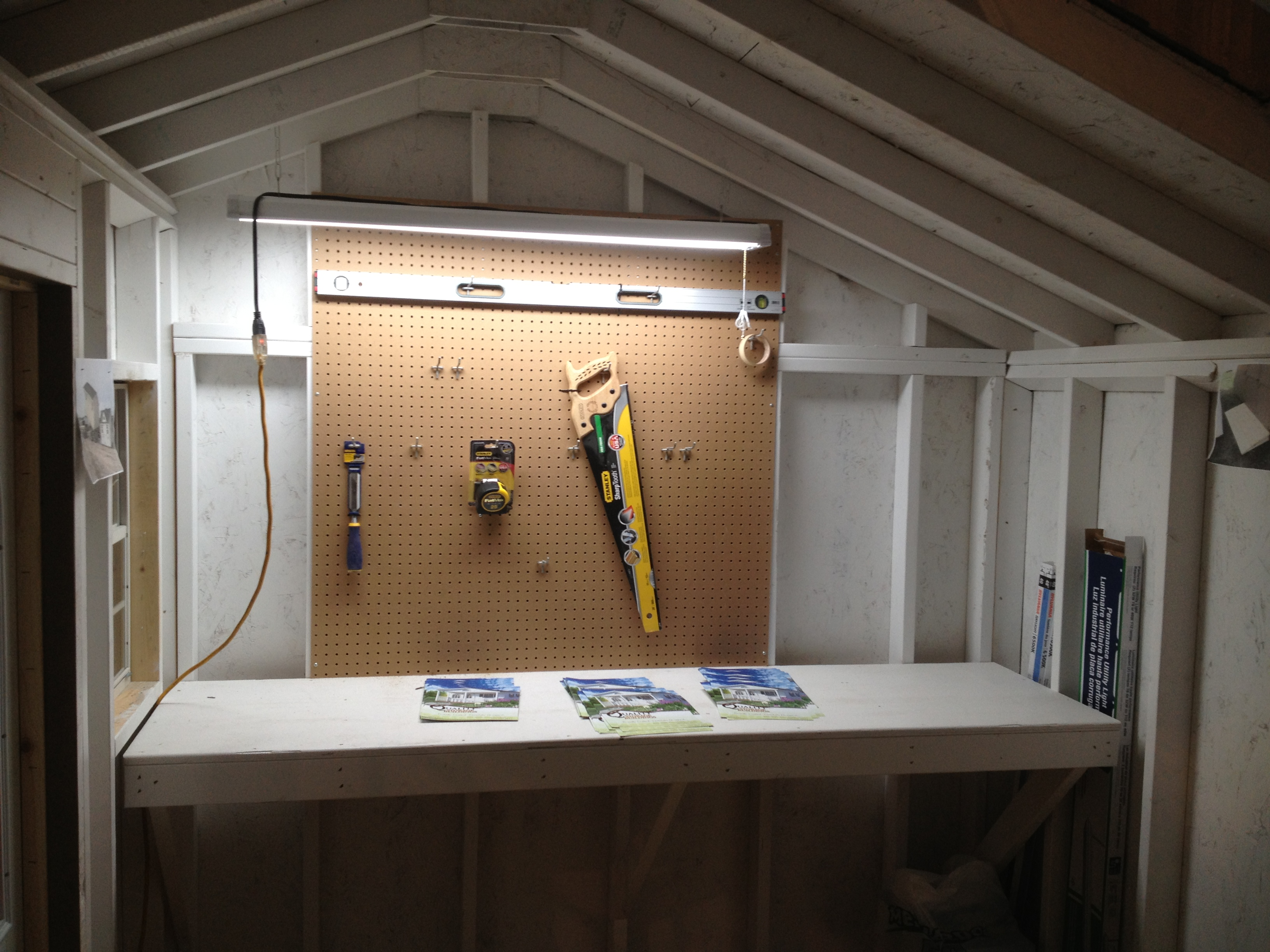wooden workshop shed workbench