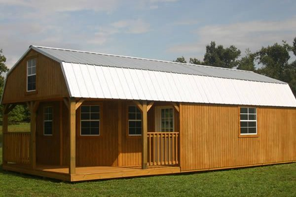 wrap around high barn porch cabin
