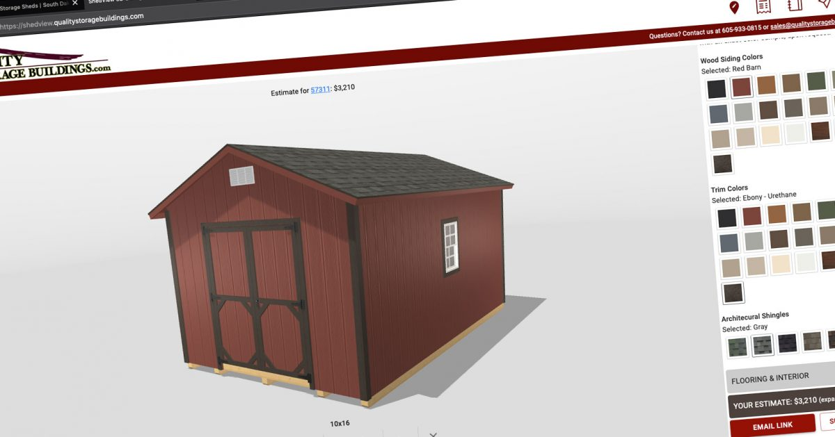 free quote with our new 3d shed builder