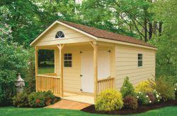 wooden storage shed with porch patio for sale