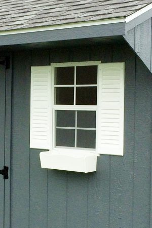 window flower box for storage sheds