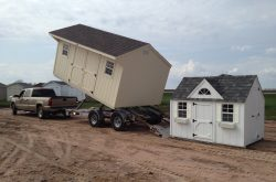 delivery of pre built sheds for sale